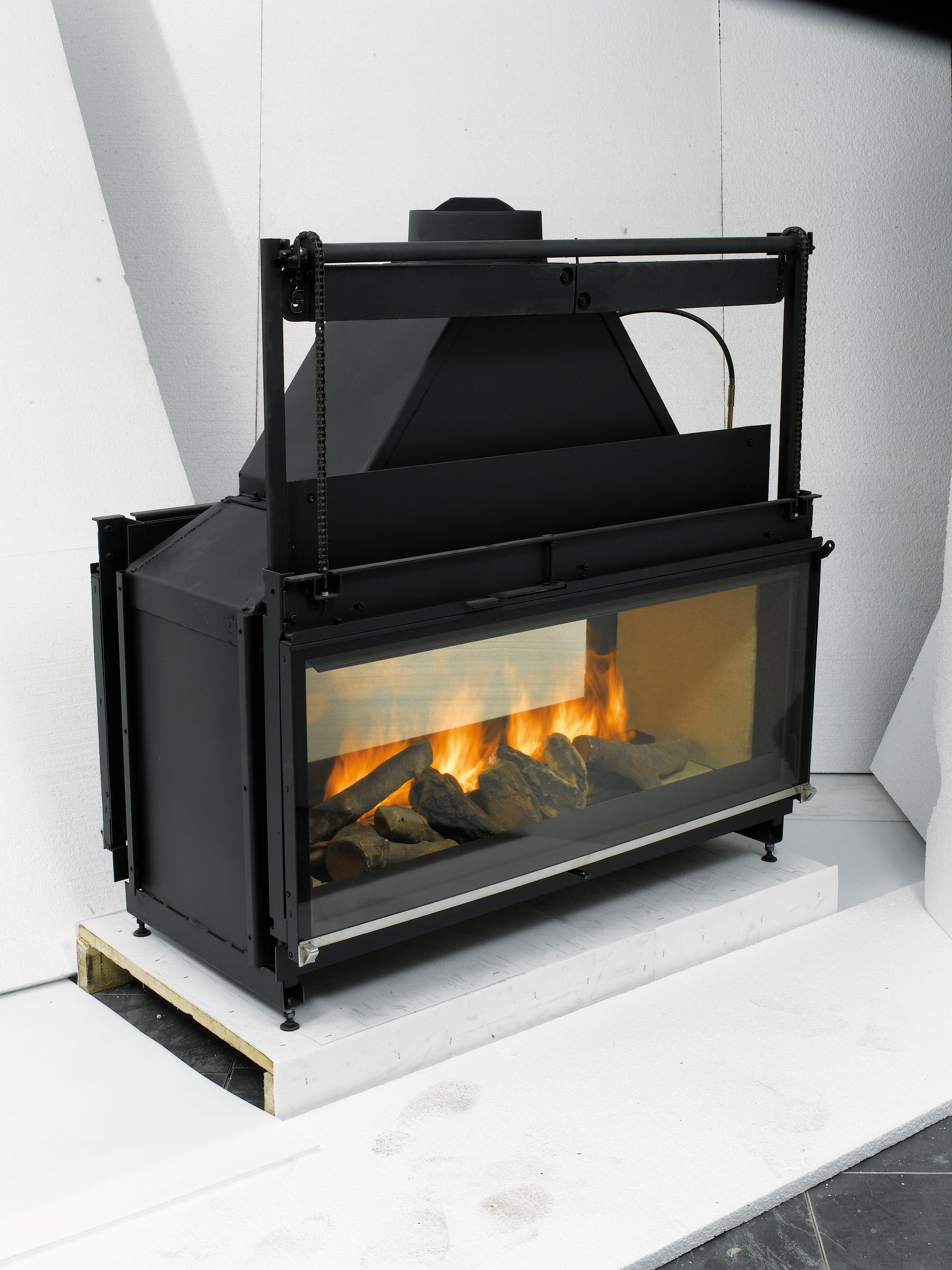 L123 x H120 x D66 cm Wood Burning Colour – Anthracite Steel casing with cast iron and firebrick fire-chamber Power: 17w Flue size outlet: 250 diameter Full glass front slides up Can be used door open or closed Godin Freestanding Woodburning Fireplaces Godin Woodburning Fireplace Inserts Godin Double-sided Woodburning