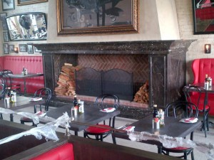 Fireplace surround at Remo's Restaurant
