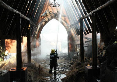 Misty Hills Hotel reception area damaged by fire